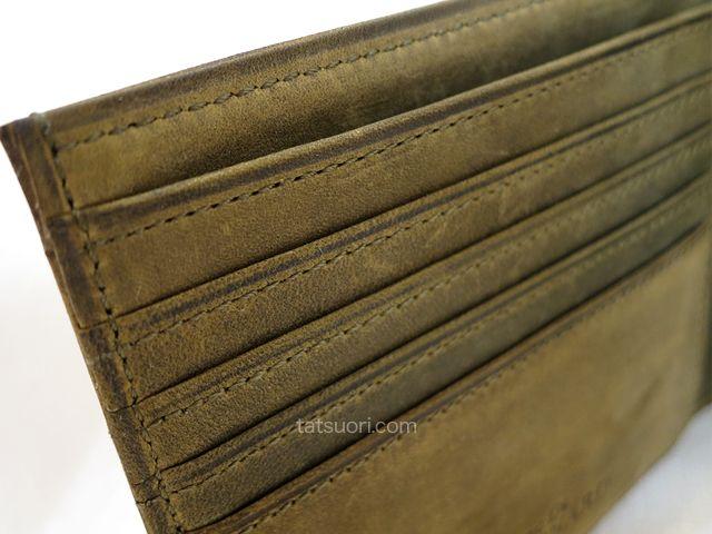 「ナポレオンカーフ ボナパルトパース」丁寧な縫製 カード入れの箇所