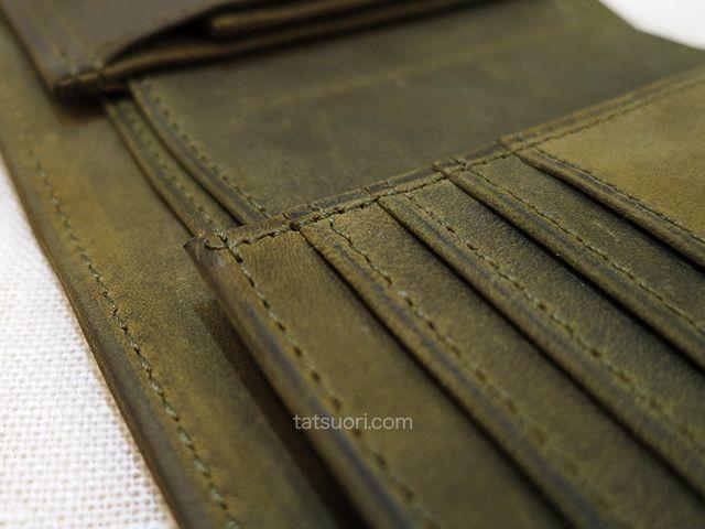 「ナポレオンカーフ ボナパルトパース」丁寧な縫製 中央上部