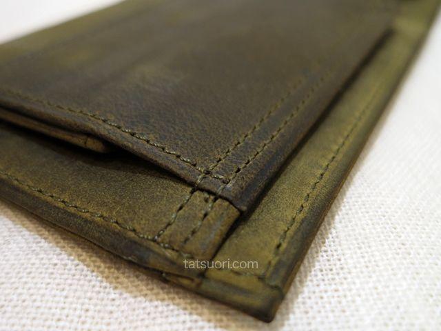 「ナポレオンカーフ ボナパルトパース」丁寧な縫製 小銭入れの箇所