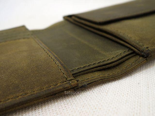 「ナポレオンカーフ ボナパルトパース」丁寧な縫製 中央下段