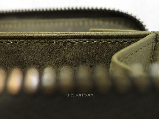 中央仕切り箇所の縫製