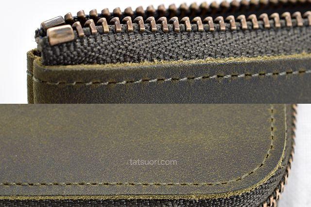 表面の縫製とファスナー箇所のチェック