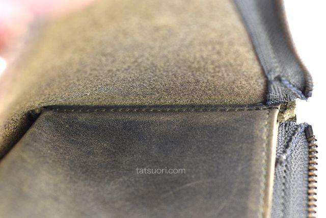 本体とフリーポケット境界部の縫製